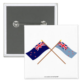 New Zealand and Ross Dependency Crossed Flags 15 Cm Square Badge