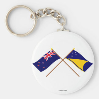 New Zealand and Tokelau Crossed Flags Basic Round Button Key Ring