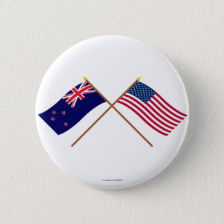 New Zealand and United States Crossed Flags 6 Cm Round Badge