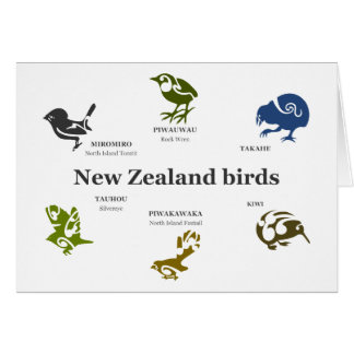 New Zealand birds gift card. Card
