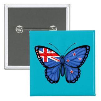 New Zealand Butterfly Flag Pinback Buttons