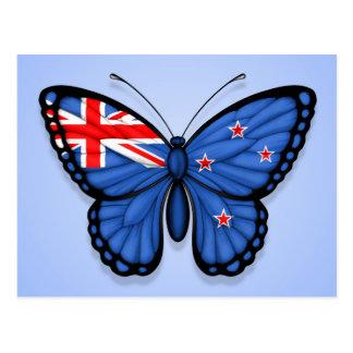 New Zealand Butterfly Flag on Blue Postcard
