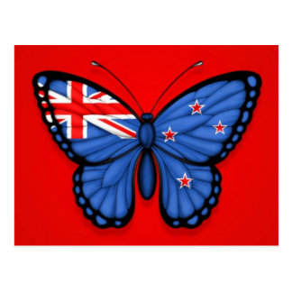 New Zealand Butterfly Flag on Red Postcard