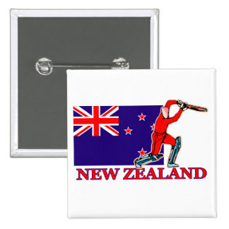 New Zealand Cricket Player 15 Cm Square Badge