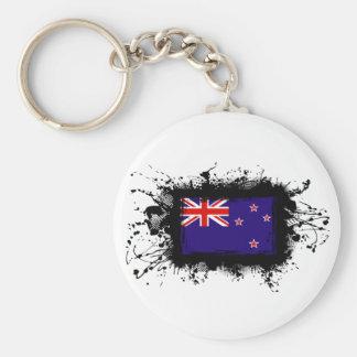 New Zealand Flag Basic Round Button Key Ring