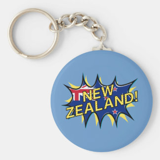 New Zealand flag comic style kapow star Basic Round Button Key Ring