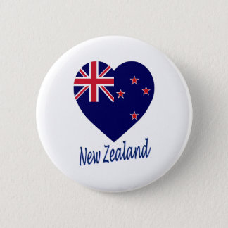 New Zealand Flag Heart 6 Cm Round Badge