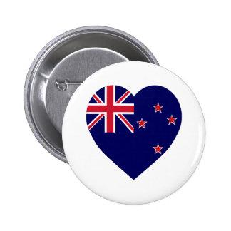 New Zealand Flag Heart 6 Cm Round Badge