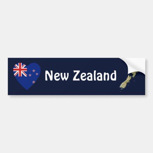New Zealand Flag Heart + Map Bumper Sticker