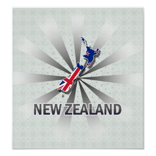 New Zealand Flag Map 2.0 Poster
