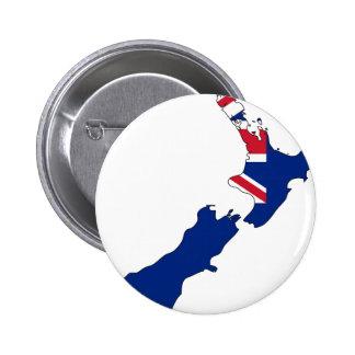New Zealand Flag Map 6 Cm Round Badge