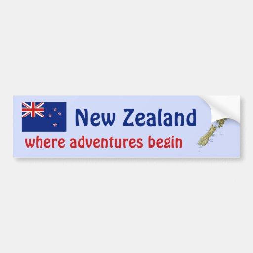New Zealand Flag + Map Bumper Sticker