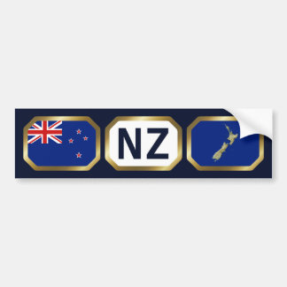 New Zealand Flag Map Code Bumper Sticker