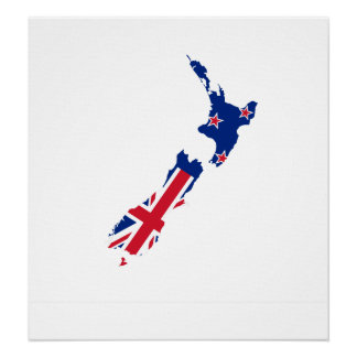 New Zealand Flag Map full size Poster