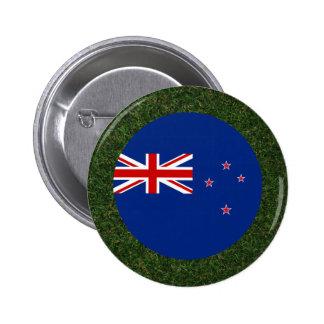 New Zealand Flag on Grass 6 Cm Round Badge