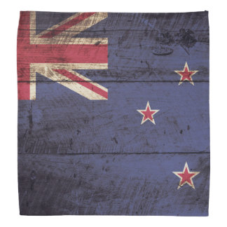 New Zealand Flag on Old Wood Grain Bandana