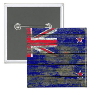 New Zealand Flag on Rough Wood Boards Effect 15 Cm Square Badge