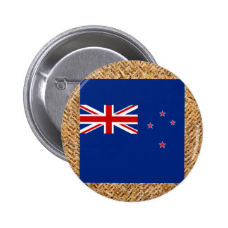 New Zealand Flag on Textile themed 6 Cm Round Badge