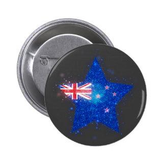 New Zealand Flag Shining 6 Cm Round Badge