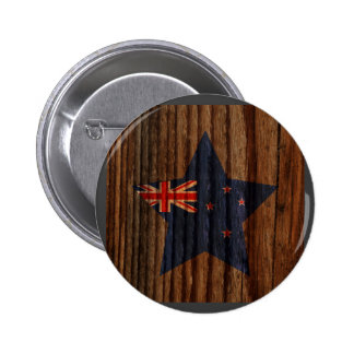 New+Zealand Flag Star on Wood theme 6 Cm Round Badge