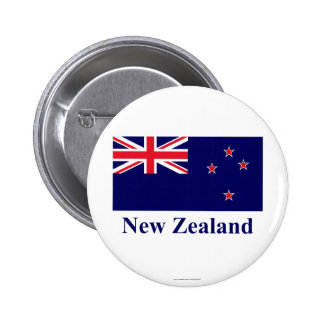 New Zealand Flag with Name 6 Cm Round Badge