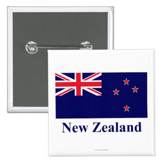 New Zealand Flag with Name 15 Cm Square Badge