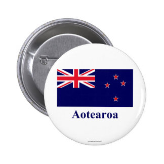 New Zealand Flag with Name in Maori 6 Cm Round Badge