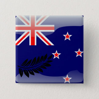 New Zealand glossy flag 15 Cm Square Badge