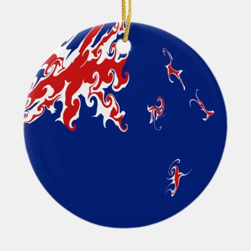 New Zealand Gnarly Flag Christmas Ornaments