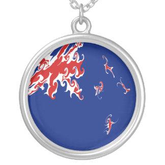 New Zealand Gnarly Flag Round Pendant Necklace