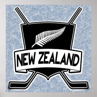 New Zealand Ice Hockey Flag Print