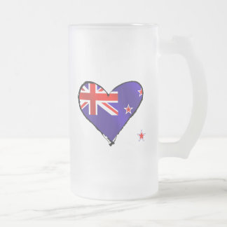 New Zealand love heart flag gifts 16 Oz Frosted Glass Beer Mug
