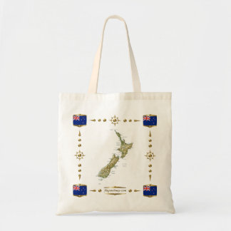 New Zealand Map + Flags Bag