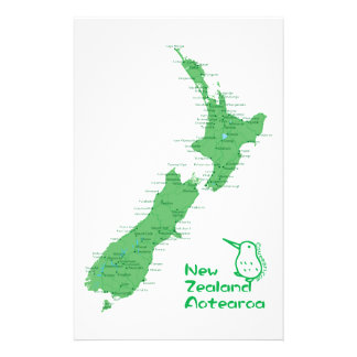 New Zealand Map Stationery