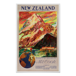 New Zealand Mt. Cook Vintage Travel Poster