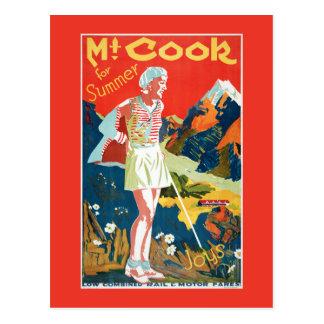 New Zealand Mt. Cook Vintage Travel Poster Postcard