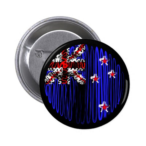 New Zealand on Black Pinback Button