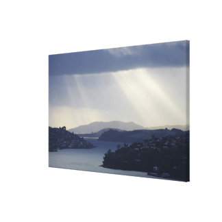 New Zealand, Otago, Dunedin, Light Shafts over Canvas Print