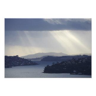 New Zealand, Otago, Dunedin, Light Shafts over Photo Print