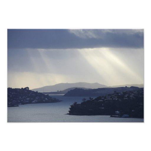 New Zealand, Otago, Dunedin, Light Shafts over Photograph