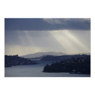 New Zealand, Otago, Dunedin, Light Shafts over Poster