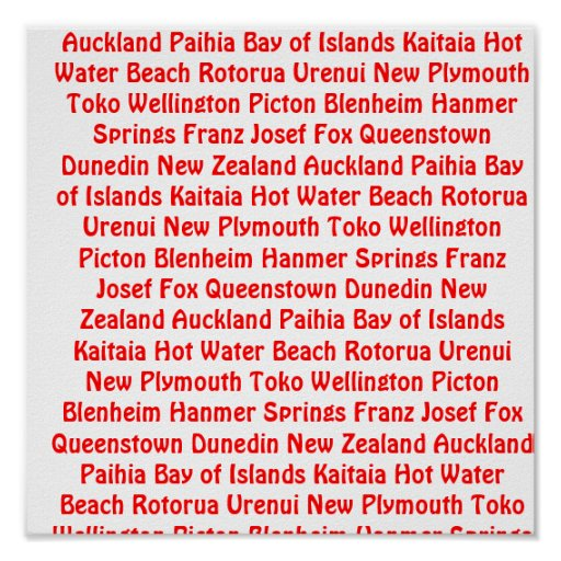 New Zealand Places Poster