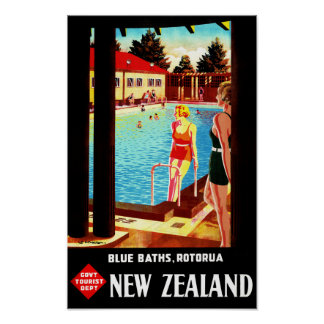 New Zealand Rotorua Vintage Poster Restored