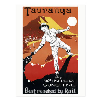New Zealand Tauranga Vintage Poster Restored Postcard