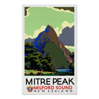 New Zealand Vintage Travel Poster Restored
