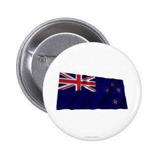 New Zealand Waving Flag 6 Cm Round Badge