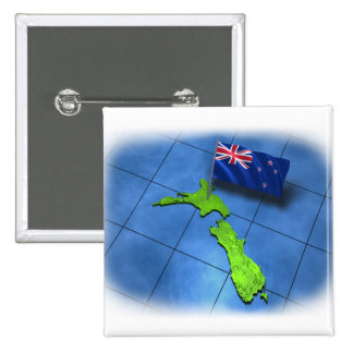 New Zealand with its own flag 15 Cm Square Badge