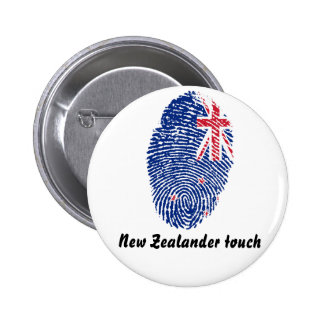 New Zealander touch fingerprint flag 6 Cm Round Badge