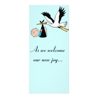 Newborn Baby Boy and Stork Rack Card Design