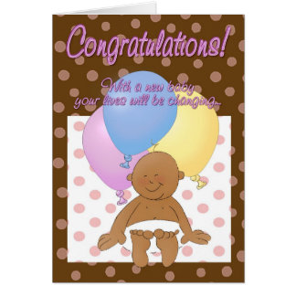 Newborn baby girl congratulations cartoon card
